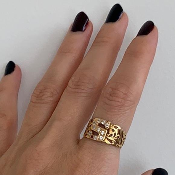 "18K Gold Encrusted Letter ""S"" Ring"